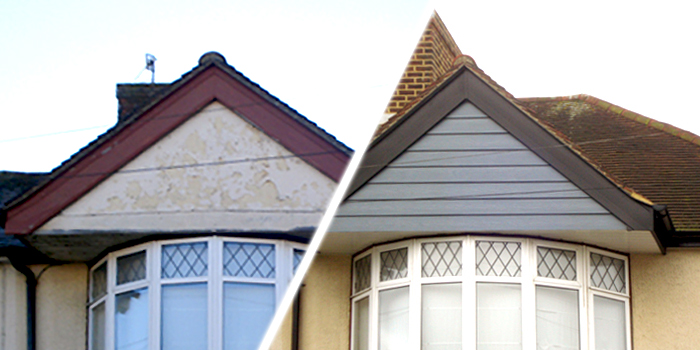 before and after gable end cladding
